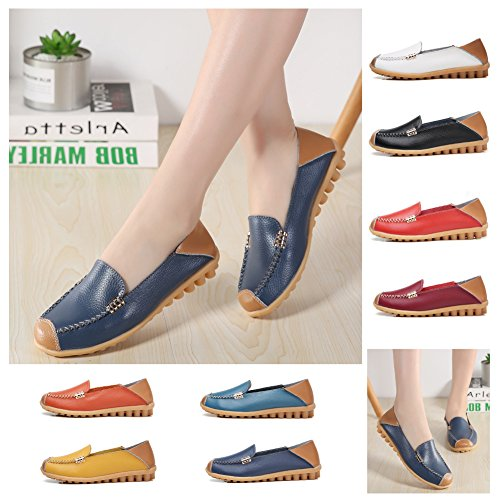 NiNE CiF Womens Soft Leather Slip on Loafers Casual Flat Moccasins Dark Blue QEjQomSlO