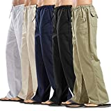 Forthery Men Casual Loose Cotton Linen Pants
