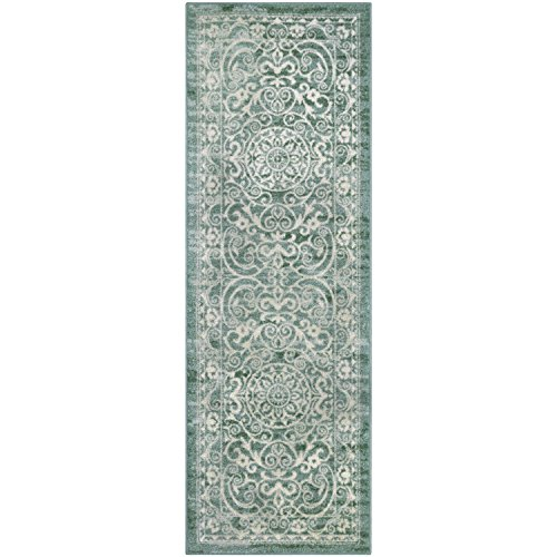 Maples Rugs Runner Rug - Pelham 2' x 6' Non Skid Hallway Carpet Entry Rugs Runners [Made in USA] for Kitchen and Entryway, Light Spa by Maples Rugs