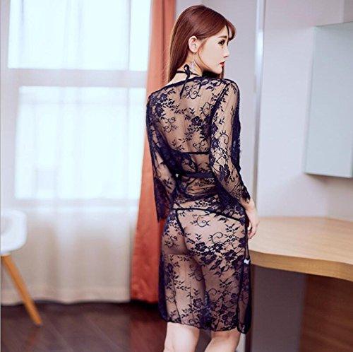 ZC&J Albornoces pijamas tentación de encaje de tres puntos traje perspectiva de gran tamaño vestido de la ropa interior atractiva,black,All code Black
