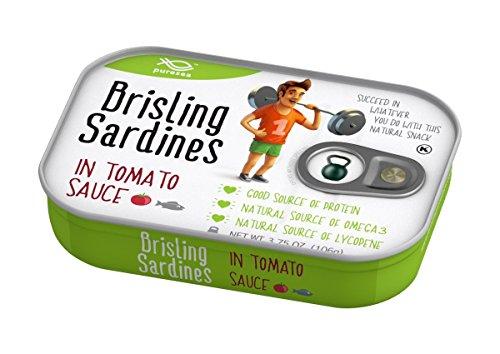 Pure Sea Brisling Sardines, Gluten Free, Natural, Wheat Free, Yeast Free, Kosher, 3.75 oz (Pack of 12) (Tomato Sauce)
