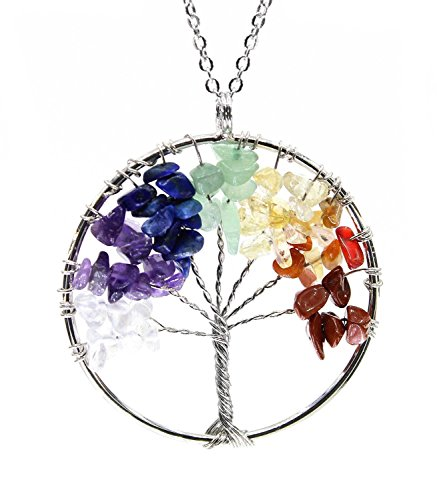 BOUTIQUELOVIN Tree of Life Wire Wrap 7 Chakra Gemstone Pendant Necklace on 30