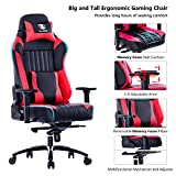 KILLABEE Big and Tall 400lb Memory Foam Gaming Chair Metal Base – Adjustable Tilt, Back Angle and 3D Arms Ergonomic High-Back Leather Racing Executive Computer Desk Office Chair, Red For Sale