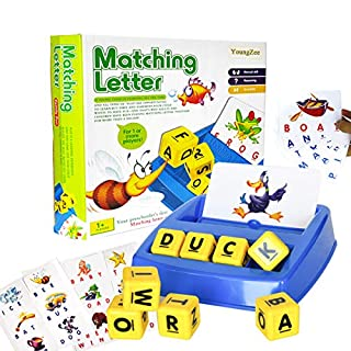 YoungZee Matching Letter Game, Spelling Games,Memory - Alphabet Teaches Word Recognition, Spelling & Increases Memory, 3 Years & Up