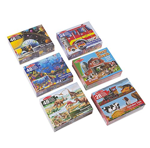 48 Piece Solar System - Melissa & Doug 49 Piece Floor Puzzle Includes Solar System, Underwater, Dinosaurs, Fire Truck, Alphabet Express, Busy Barn (6 Pack)