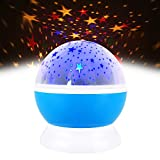 Sensory Toys for Autism Toddler, TOP Gift Night Light Moon Star Projector 360 Degree Rotation Unique Best Gifts for Kids Toys for 1-6 Year Old Boys Girls Gifts for 1-6 Year Old Boys Gifts for 1-6 Year Old Girls Blue TGUKXKD02