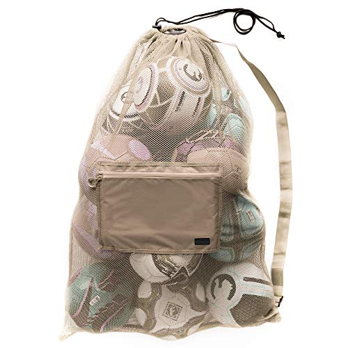 Extra Large Heavy Duty Mesh Bag. Best for Soccer Ball, Water Sports, Beach Cloth, Swimming Gears. Adjustable Shoulder Strap Made to Fit Adults and Kids. Secure Side Pocket for Personal Item (Tan)