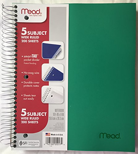 MEAD Spiral Notebook, 5 Subject, Wide Ruled Paper, 200 Sheets, 10-1/2