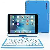 Funda con Teclado para iPad Mini 4, SnuggTM - Carcasa Azul Giratoria 360° con Teclado Bluetooth Y Garantía De Por Vida Para Apple iPad Mini 5