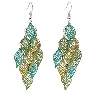Wrisky Multilayer Leaves Earring Eardrop Dangle Pendant Women Jewelry