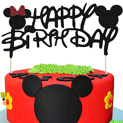 Minnie Mouse Cake Topper, Mickey Inspired Birthday Cake Topper, Mickey and Minnie First Birthday Happy Birthday Party Cake Supplies Decorations