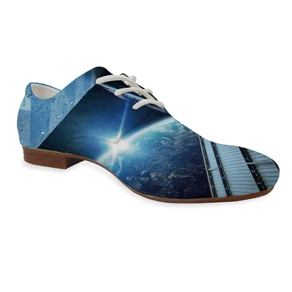 Space Durable Leather Shoes,Abstract Cartoon Science Fiction Themed Image with Swirl Waves Asteroids Telescope Decorative for Women,US 5