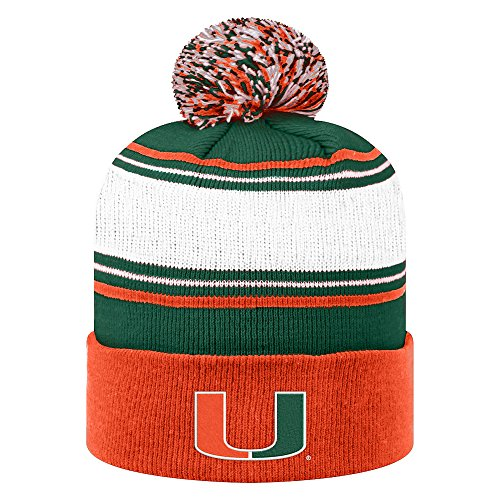 Elite Embroidered Hat - Top of the World NCAA Miami Hurricanes Men's Elite Fan Shop Winter Knit Ambient Warm Hat, Orange