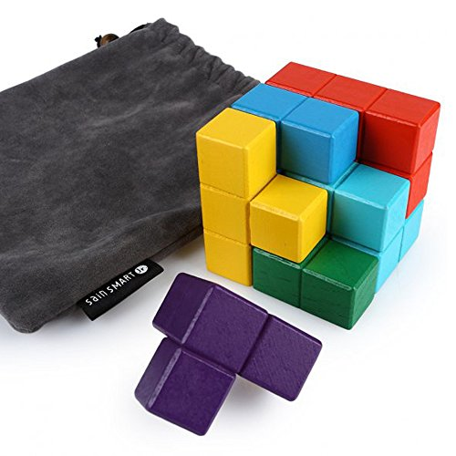 (SainSmart Jr. Soma Cube Wood Tetris Puzzle Box Cube Stacking Blocks Games with 7 Colorful Bricks, 3 3 Cube Buliding Sets with A Carry Bag)
