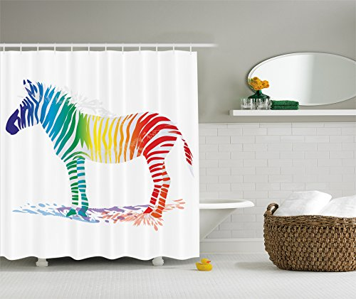 Zebra Print Shower Curtain Funny Decor by Ambesonne, Zebra in Gradient Colored Stripes Nature Shady Pattern, Fabric Bathroom Shower Curtain Set, 84 Inches Extra Long, Navy Red Yellow Green Blue - Pattern Zebra Red