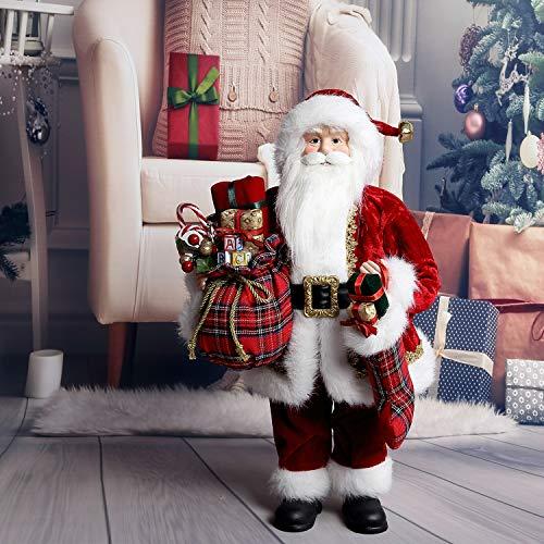 "Uten 18"" Santa Claus Christmas Figurine Figure Decoration Holiday Decoration (18"") (Red)"