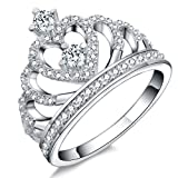 Paitse 925 Sterling Silver Princess Crown Zircon Inlay Womens Fashion Engagement Anniversary Ring