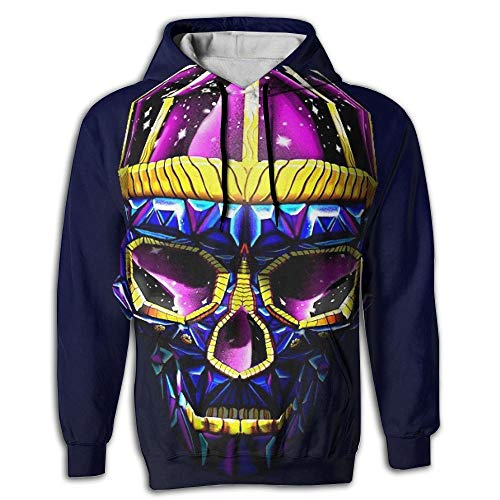 3D Print Men's Hooded Sweatshirts Colorful Diamond Skulls Drawstring Pullover Hoodies Pockets