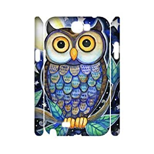 Owl Personalized 3D Cover Case for Samsung Galaxy Note 2 N7100,customized phone case ygtg527993