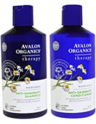 Avalon Organics Anti-Dandruff Shampoo and Anti-Dandruff Conditioner Bundle With 2% Salicylic Acid, Aloe Vera, Tea Tree, Chamomille and Essential Oils, 14 fl. oz. each