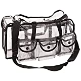 Casemetic PC01 Makeup Artist Cosmetic Clear Large Bag Organizer Storage Easy Clean 6 Pockets Tissue, Black Trim, 1-Count