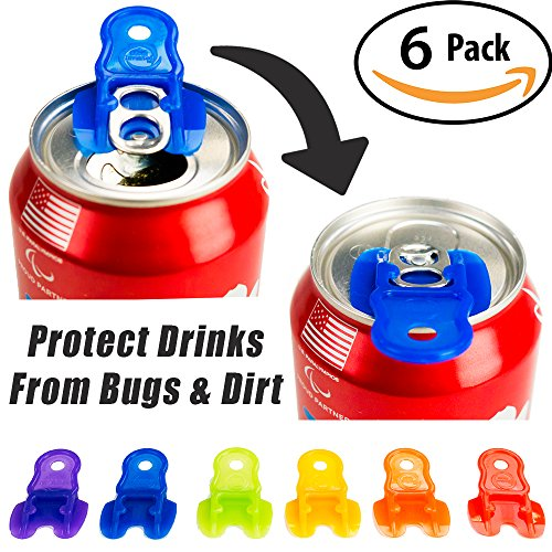 Beverage Barricade Soda Protector 6 Pack for Active Families. Improve Your Picnic or BBQ Experience: Shield Your Cans From Bugs & Dirt, Easily ID Whose Drink is Whose & Eliminate Painful Top Popping. (Beverage Topper compare prices)