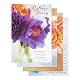 DaySpring Birthday Boxed Greeting Cards w Embossed Envelopes - Flowers of Joy, 12 Count (37110)