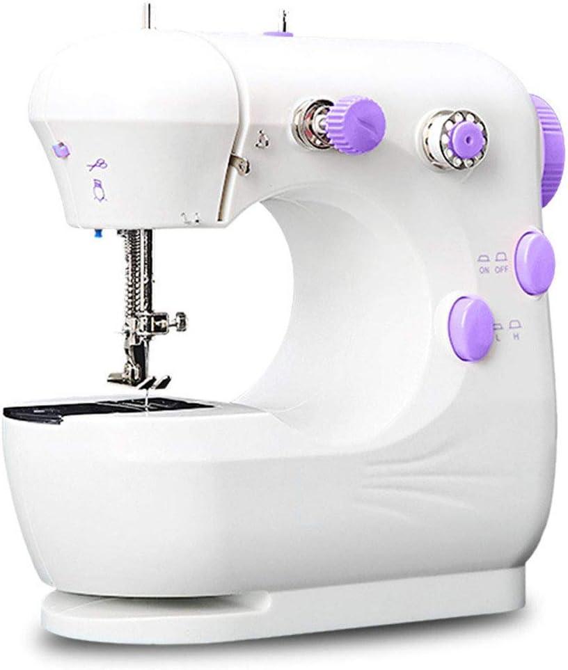 Máquina de coser electrónica, Mini máquina de coser portátil, 2 Velocidades, con Luz de LED, pedal, para Ropa, Fundas de Almohadas, Sábanas, fácil de usar para principiantes,White-Purple