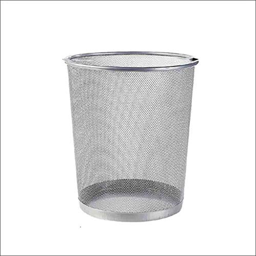 MDMMBB Household Office Trash can Kitchen Living Room Bathroom Trash can Barbed Wire Without Cover Paper 28.5Cm W 35cm 23 cm (Color : Silver, Size : 262821cm)