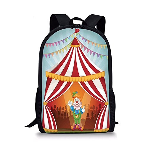 Caddis Tent - iPrint School Bags Circus Decor,Cartoon Clown in Circus Tent Cheerful Costume Funny Entertainer Joyful, for Boys&Girls Mens Sport Daypack