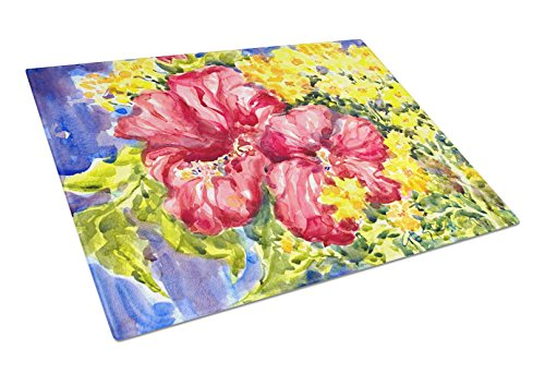 Caroline's Treasures Flower Hibiscus Glass Cutting Board, Large, Multicolor