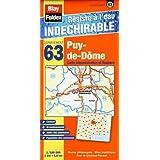 Puy-de-Dôme (63). Carte Départementale, Administrative et Routière (échelle : 1/180 000)