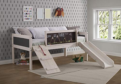 DONCO Twin Art Play Junior LOW LOFT, White Wash/Dark Grey 1