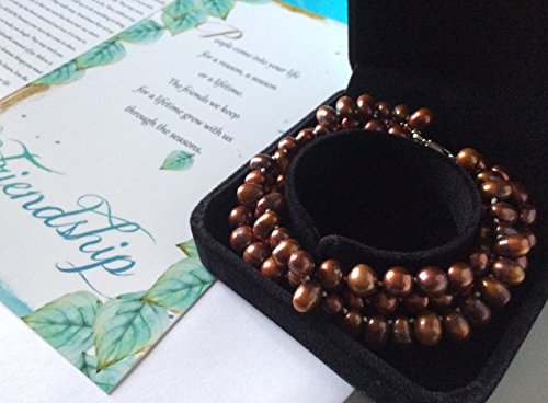 Smiling Wisdom - Bronze Cultured Freshwater Pearl Bracelet 3 Strand - Reason Season Lifetime Friendship Greeting Card Gift Set - Leaf Necklace Sentiment - Good Best Friend, BFF – Copper (Cultured Strand)