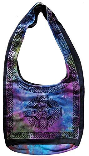 Art Hobo - Handmade Cotton Celtic Cross Hobo Bag for Shopping Work Tote Flat Bottom 15x12 by India Arts