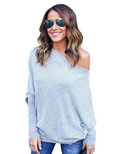 Automne Tricots Gris Tomwell Casual Hauts Nue Longues Blouse Jumpers Cavalier Pull Pullover Epaule Batwing Sweater Femmes Manches 1nnxRwg5a