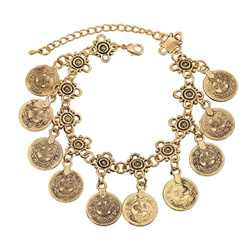 BOLY Womens Antique Gold Bohemain Strentch Bracelet Coins Tassel Belly Dance Dangle Bracelet Ankle Hand Chain Bracelet
