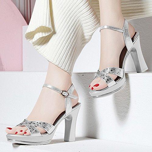 Jqdyl Tacones Sandalias Nuevas Tacones Altos Señoras Gruesas con Zapatos De Tacón Alto Rhinestone, Impermeable, Verano, 34, Plateado 34|Silver