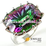 AYT HUGE Gem Stone 23ct Genuine Rainbow Fire Mystic Topaz Ring Pure Solid 925 Sterling Silver UNIQUE Fashion Size 6 7 8 9