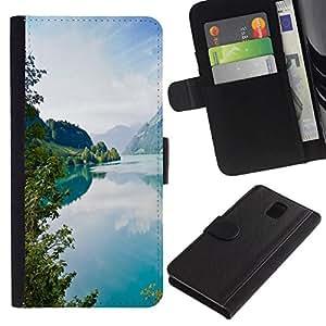 NEECELL GIFT forCITY // Billetera de cuero Caso Cubierta de protección Carcasa / Leather Wallet Case for Samsung Galaxy Note 3 III // Tourquise Blue Lake