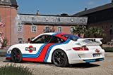 """Porsche 911 ( 997 ) GT3 by Cam Shaft (2013) Car Art Poster Print on 10 mil Archival Satin Paper Red/White/Blue Rear Side Static View 36""""x24"""""""
