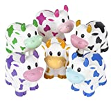 One Dozen Colorful Rubber Cows 2 Inches Long by RINCO