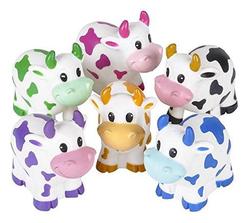 one dozen colorful rubber cows