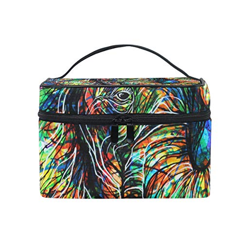 Makeup Cosmetic Bag Aztec Elephant Portable Storage with -