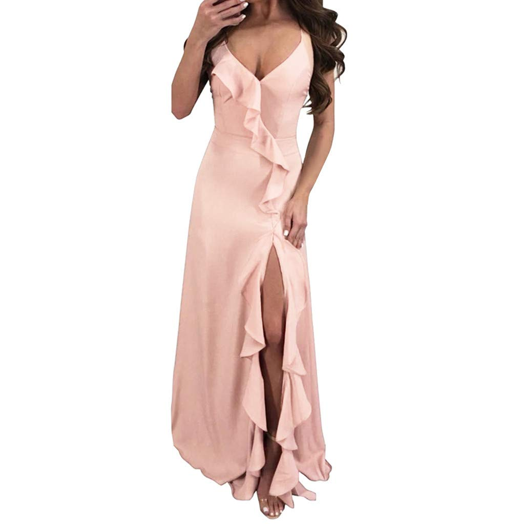 ZOMUSAR 2019 Fashion Women's Fashion Solid Sexy Ruffle Blackless Sleeveless Irregular Dress Pink
