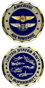 United States Military US Armed Forces USN Navy Air Superiority Aircrew & Air Warfare Crests - Good Luck Double Sided Collectible Challenge Pewter Coin