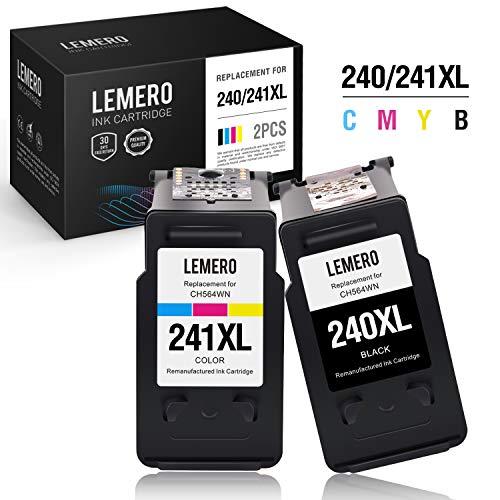 (LEMERO Remanufactured Ink Cartridge Replacement for Canon PG-240XL 240 XL CL-241XL 241 XL for PIXMA MG3520 MG3620 MX432 MX452 MX532 MX472 MX512 (1 Black, 1 Tri-Color, 2 Pack))