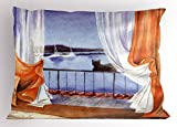 Ambesonne Animal Pillow Sham, Black Cat Seeing The Sea Sailboats at Window Hand Painted Watercolors Artwork, Decorative Standard Size Printed Pillowcase, 26 X 20 inches, Orange White Blue