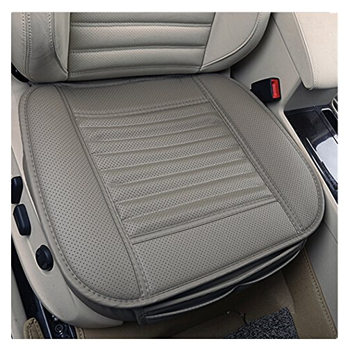 JOJOHON Car Seat Cushion, Car Seat Pad with PU Leather Bamboo Charcoal Car Seat Protector for for Auto Supplies Office Chair,Single Seat Without Backrest (2-Pack,Grey)