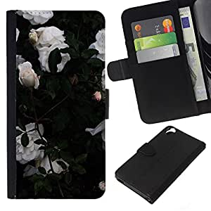 KingStore / Leather Etui en cuir / HTC Desire 820 / Rosas de jardín Bush Flores;